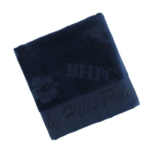 Tmavomodrý bavlnený uterák BHPC Velvet, 50x100cm