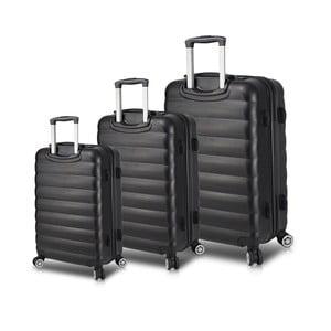 Sada 3 čiernych cestovných kufrov na kolieskach s USB porty My Valice RESSO Travel Set