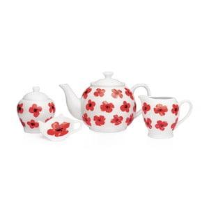 4-dielna porcelánová sada riadu Sabichi Spring Poppy