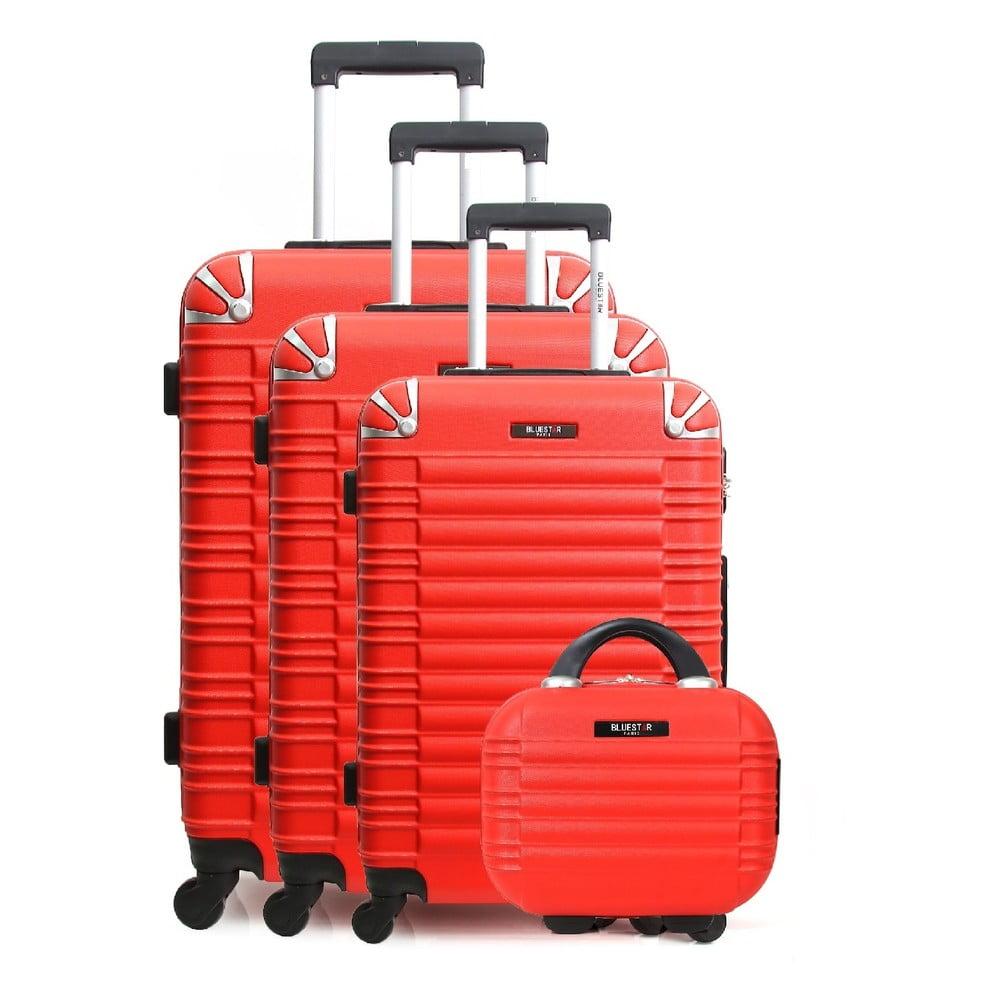 Sada 3 červených cestovných kufrov na kolieskach a toaletného kufríka Bluestar Vanity