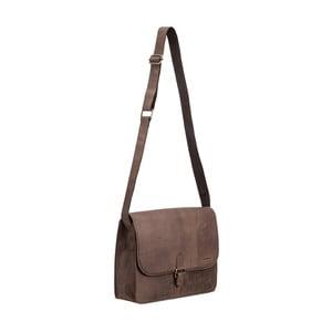 Tmavohnedá kožená taška cez rameno Packenger Aslang