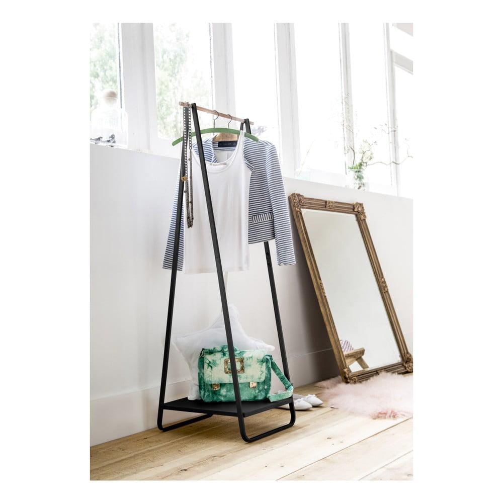 Čierny stojan na oblečenie s poličkou Compactor Portant Blanc