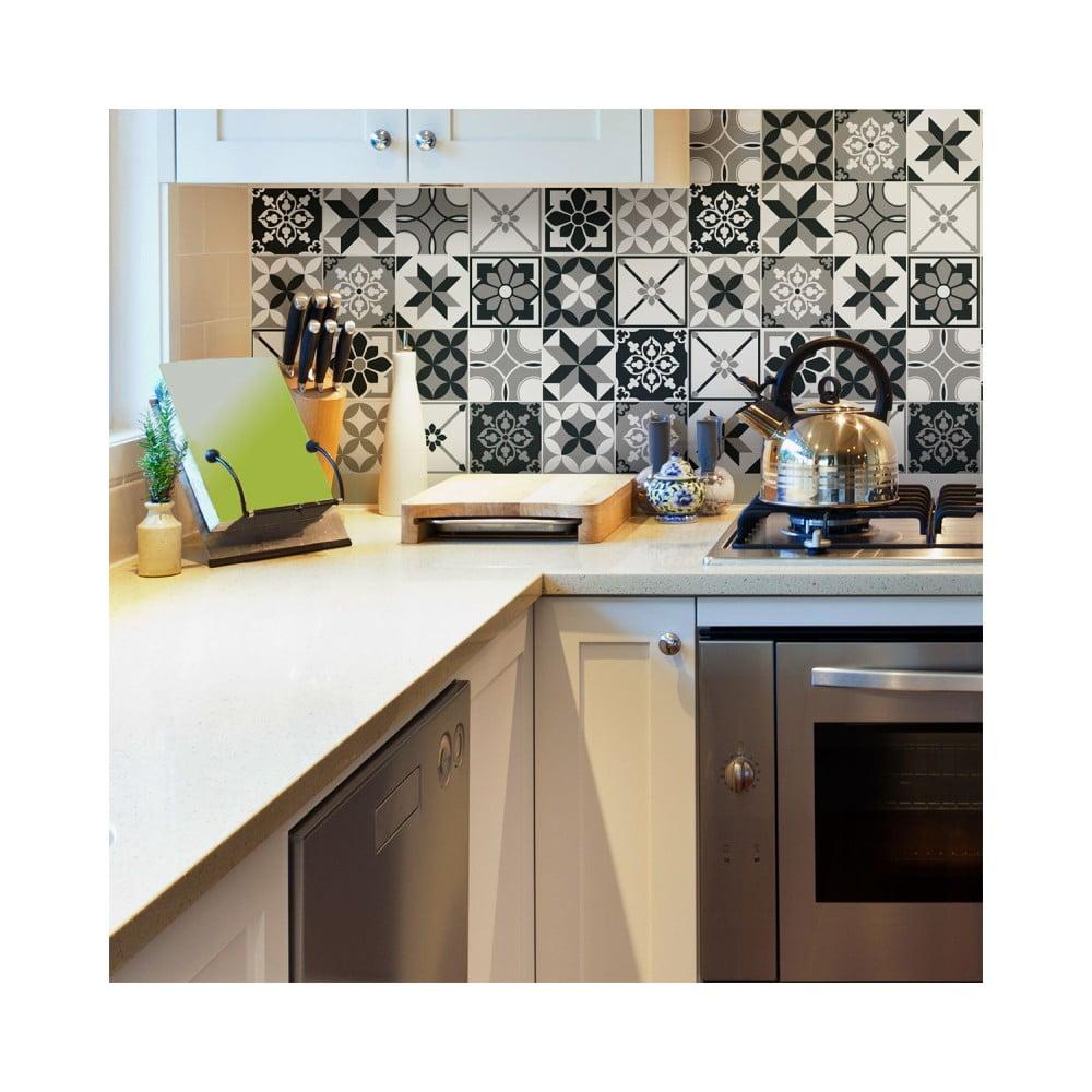 Sada 30 nástenných samolepiek Ambiance Wall Stickers Cement Tiles Azulejos Rocito, 10 × 10 cm