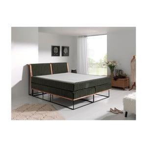 Tmavosivá dvojlôžková boxspring posteľ Sinkro Berlin Calling, 180 x 200 cm