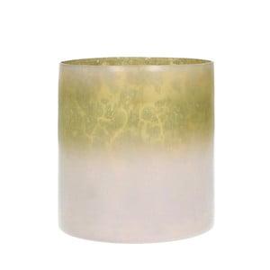 Ružový sklenený svietnik HF Living, výška 10 cm