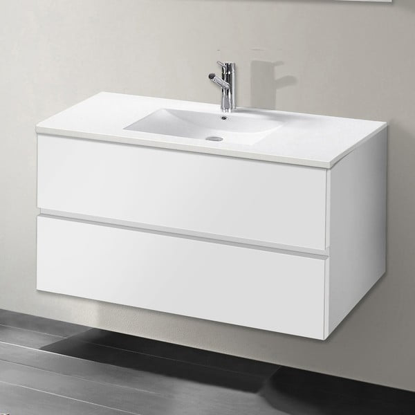 Kúpeľňová skrinka s umývadlom a zrkadlom Flopy, odtieň bielej, 80 cm