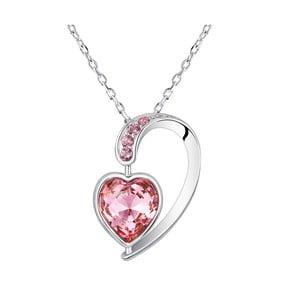 Náhrdelník s ružovými krištáľmi Swarovski Elements Crystals Heart Drop