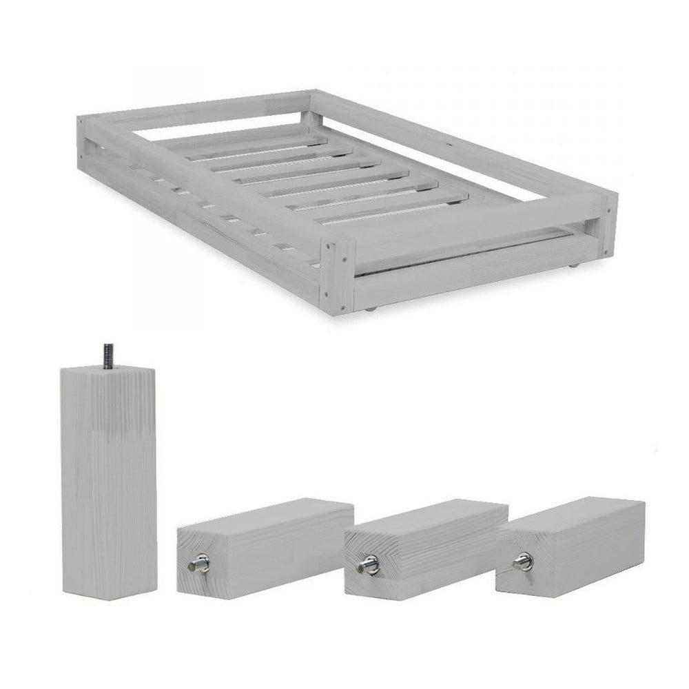 Set sivej zásuvky a predĺžených noh zo smrekového dreva k posteli Benlemi Funny, 80 × 140 cm