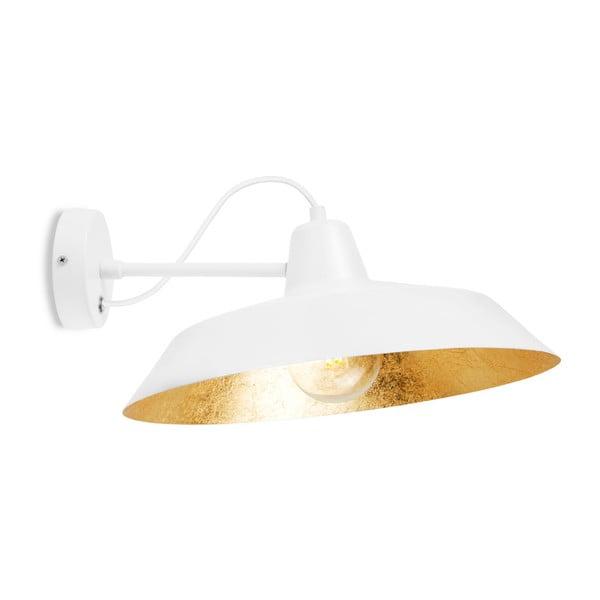 Biele nástenné svietidlo s detailom v zlatej farbe Bulb Attack Cinco Basic