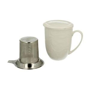 Biely porcelánový hrnček s kovovým filtrom Duo Gift Hemingway, 300 ml