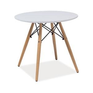Biely okrúhly stôl s nohami z kaučukového dreva Signal Soho, ⌀90cm