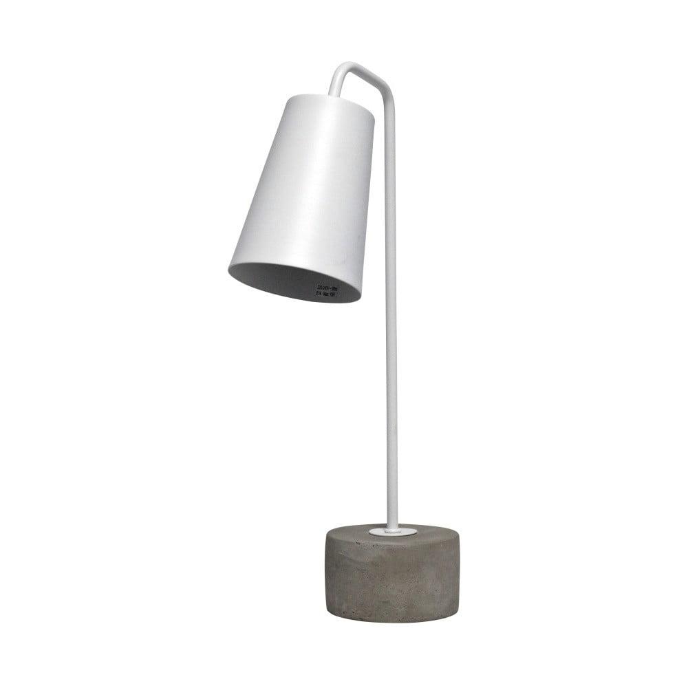 Biela stolová lampa s betónovým podstavcom Red Cartel Placido