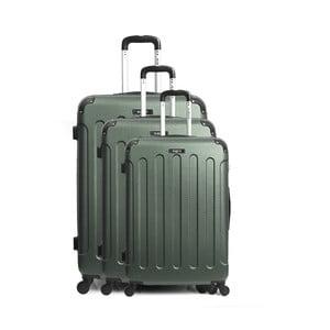 Sada 3 zelených cestovných kufrov na kolieskách Bluestar Vanity Cadenas
