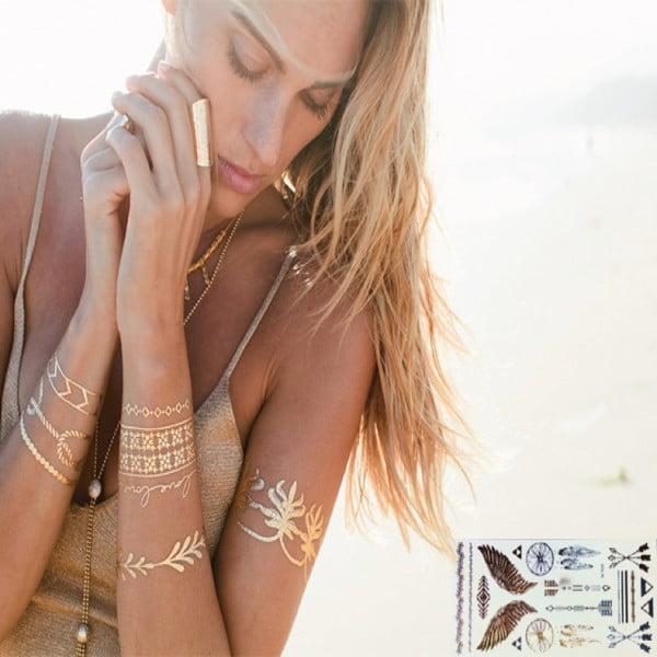 Metalické dočasné tetovanie Angel 's Wing