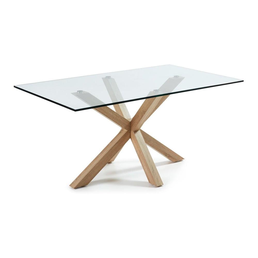 Sklenený jedálenský stôl s prírodným podnožím La Forma, 160 x 90 cm