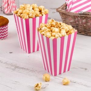 Sada 8 ružových papierových škatuliek na popcorn Neviti Carnival Stripes
