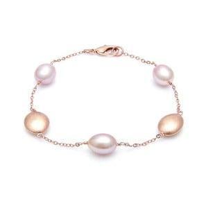 Pozlátený náramok s ružovými perlami GemSeller Gudo