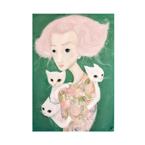 Autorský plagát od Lény Brauner Slečna s malvíny, 60x82 cm