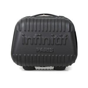 Čierny kozmetický kuforík s potlačou INFINITIF, 12l