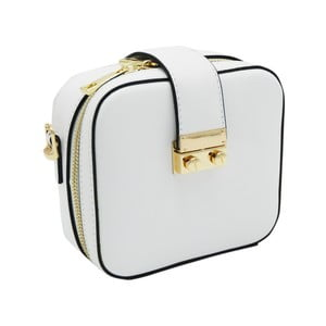 Biela listová kabelka z pravej kože Andrea Cardone Pacco