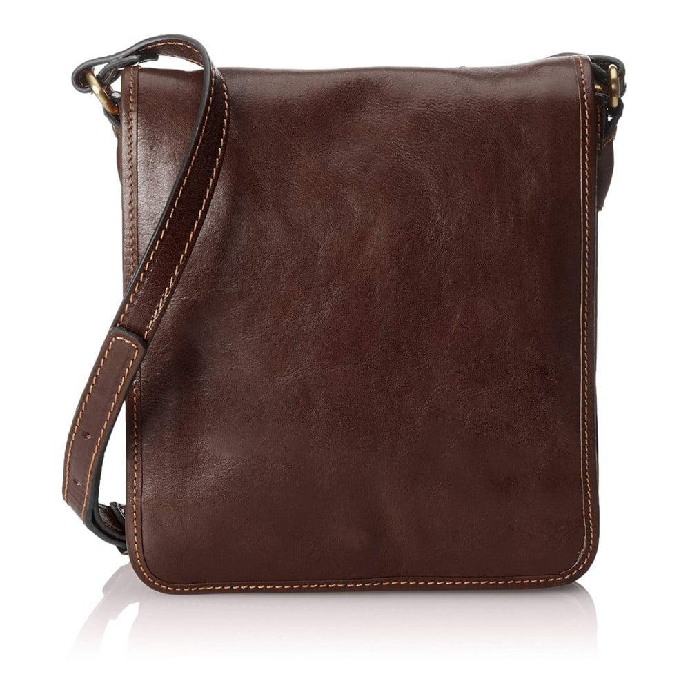 Tmavohnedá pánská kožená taška cez rameno Chicca Borse Roads
