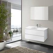 Kúpeľňová skrinka s umývadlom a zrkadlom Flopy, odtieň bielej, 90 cm