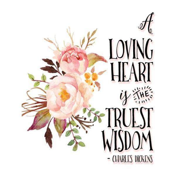 Plagát v drevenom ráme Loving heart, 38x28 cm
