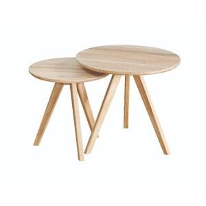 Sada 2 odkladacích stolíkov z bieleného dubového dreva Folke Yumi