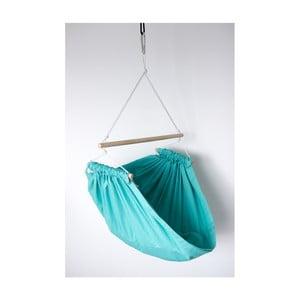 Mentolovozelená hojdačka z bavlny so zavesením do stropu Hojdavak Junior (2 až 10 rokov)