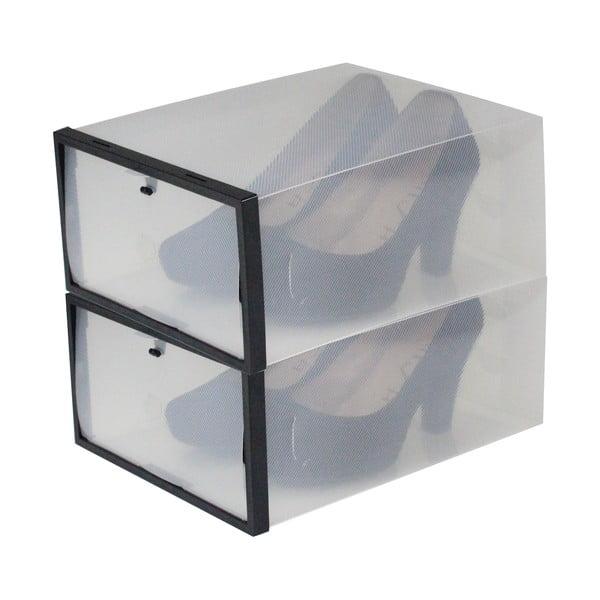 Sada 2 škatúľ na topánky s čiernym lemom Jocca, 28x20,7cm