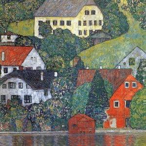 Reprodukcia obrazu Gustav Klimt - Houses in Unterach am Attersee, 60x60cm