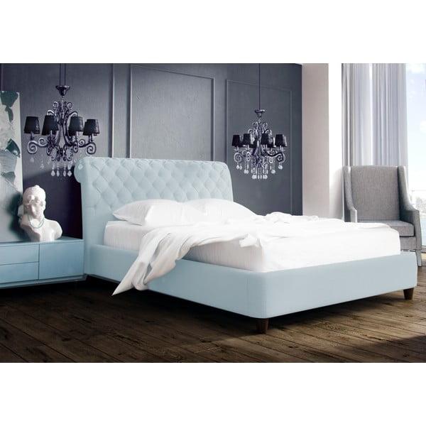 Pastelovomodrá posteľ s prírodnými nohami Vivonita Allon 160x200cm