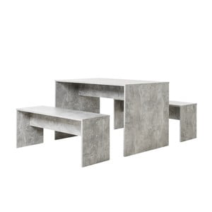 Set jedálenského stola a 2 lavíc v betónovom dekore Intertade Berlin