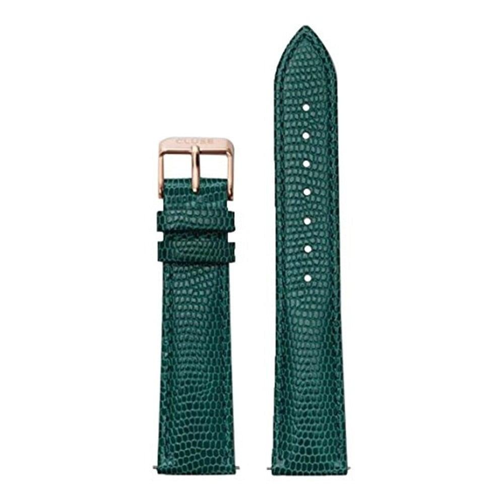 Smaragdovozelený kožený remienok s detailmi vo farbe ružového zlata k hodinkám Cluse La Bohème