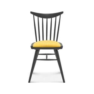 Drevená stolička so žltým polstrovaním Fameg Anton
