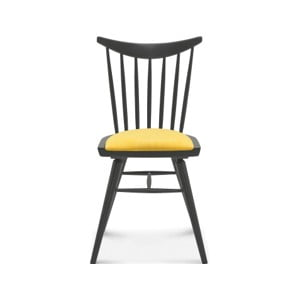 Drevená stolička so žltým čalúnením Fameg Anton