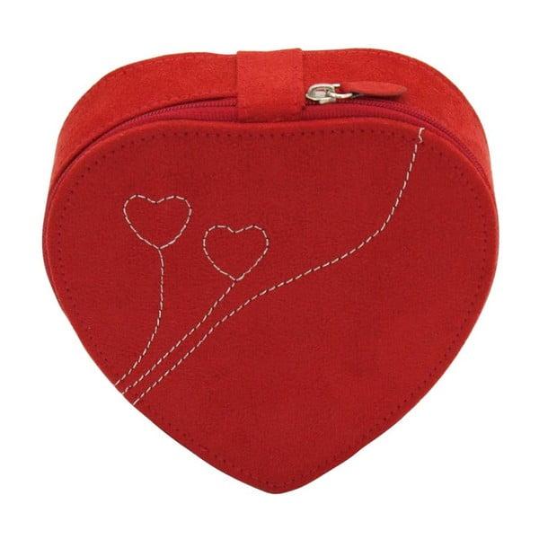 Šperkovnica Friedrich Lederwaren Heart Red, 14x14 x 4,5 cm