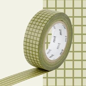 Zeleno-biela washi páska MT Masking Tape Quadrillé