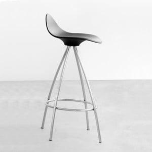 Čierna stolička s chrómovanými nohami Stua Onda, 66 cm