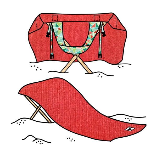 Skladacie plážové lehátko a osuška v jednom Sun Seat Tomato