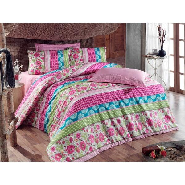 Ružové obliečky s plachtou Love Colors Novel, 160 x 220 cm