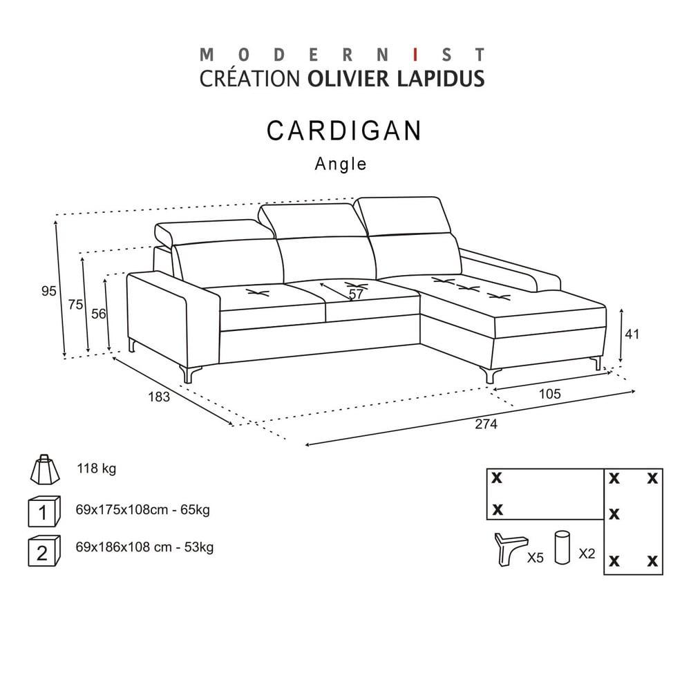 ierna pohovka modernist cardigan prav roh bonami. Black Bedroom Furniture Sets. Home Design Ideas