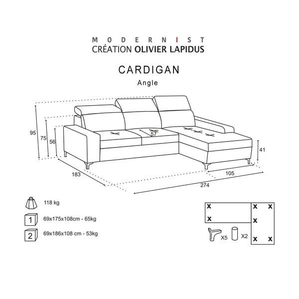 Čierna pohovka Modernist Cardigan, pravý roh