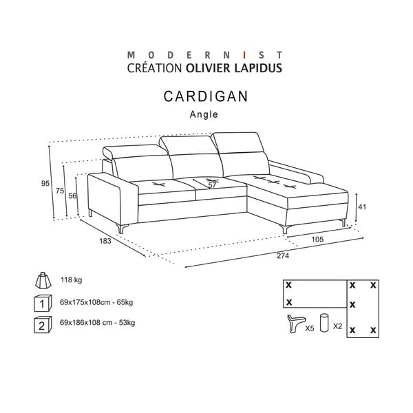 Tmavohnedá pohovka Modernist Cardigan, ľavý roh