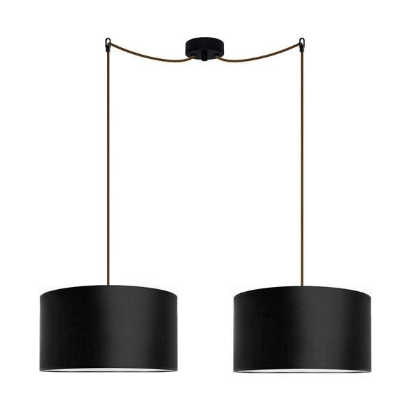 Čierne dvojité závesné svietidlo Bulb Attack Tres, ⌀ 36 cm