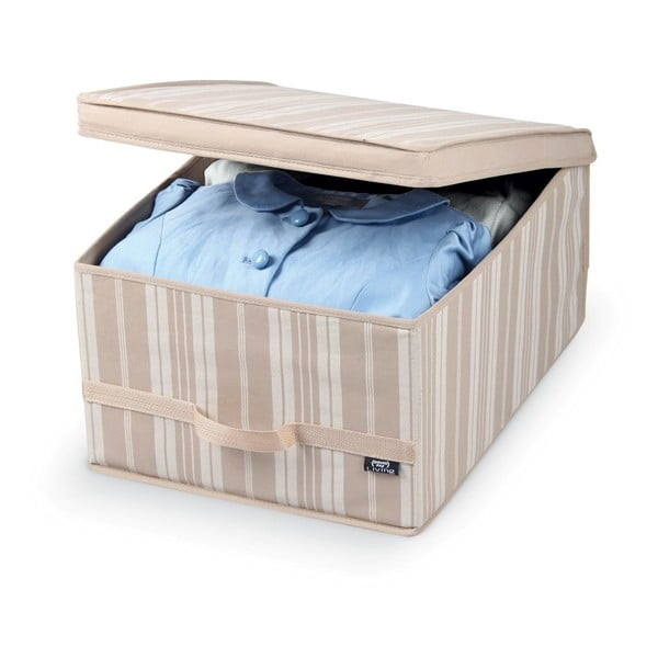 Béžový úložný box Domopak Stripes, dĺžka 50cm