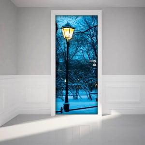 Adhezívna samolepka na dvere Ambiance Winter Street Lamp