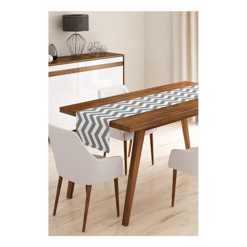 Behúň na stôl z mikrovlákna Minimalist Cushion Covers Grey Stripes, 45 × 145 cm