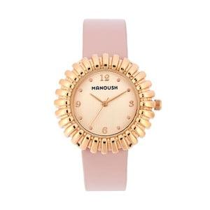 Púdrovoružové dámske hodinky s koženým remienkom Manoush Sunny