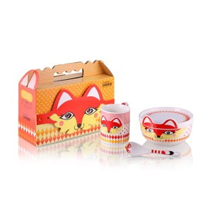 Detský raňajkový set z kostného porcelánu Silly Design Fox
